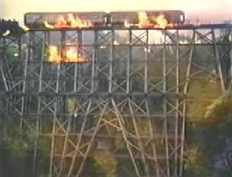 GP#9 crossing the tressle in flames